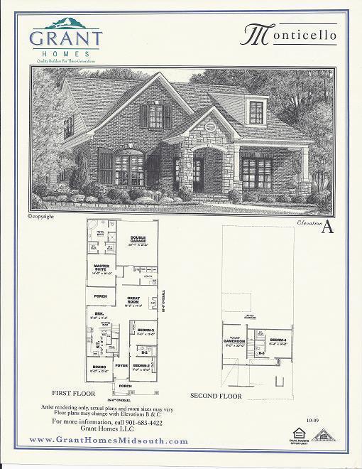 The monticello floor plans grant properties for Monticello floor plan