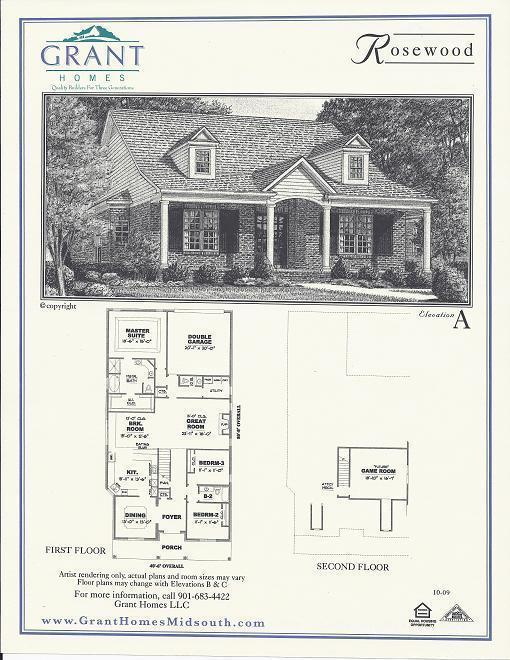 The rosewood floor plans grant properties for Rosewood house plan